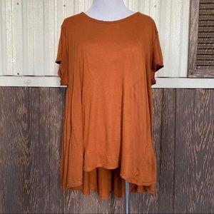 Free People burnt orange hi low blouse size L